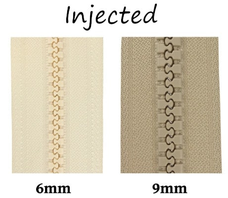 Injected zipper size